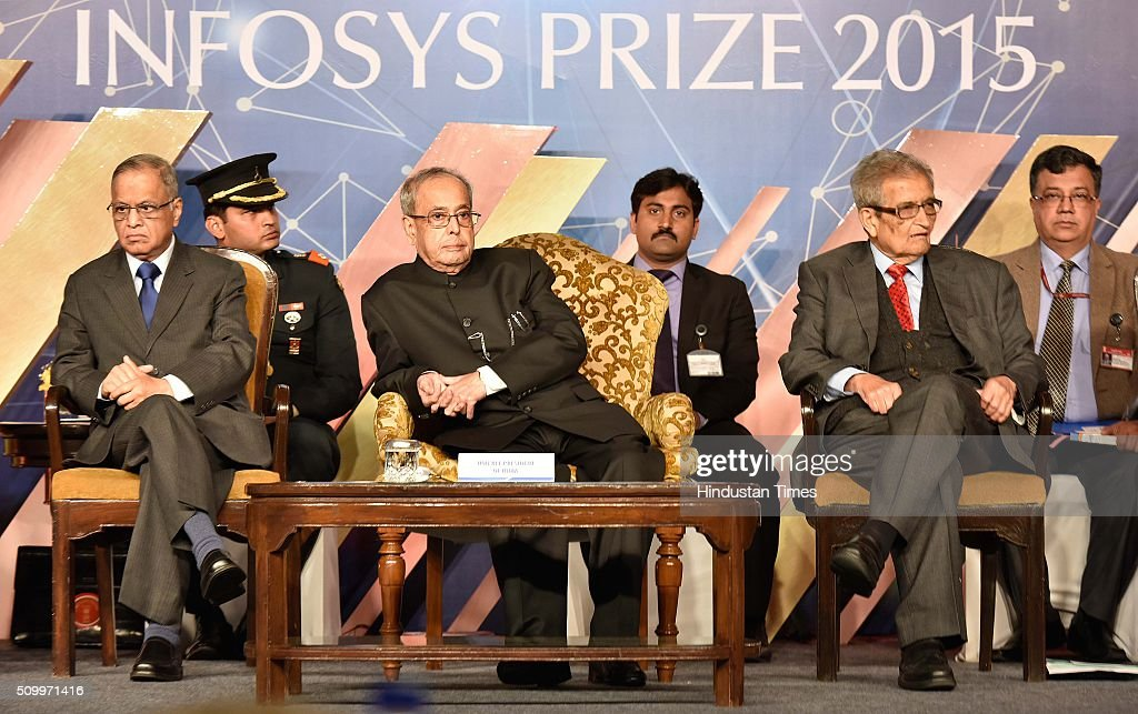 President Pranab Mukherjee along with N. R. Narayana Murthy (co-founder of Infosys), Amartya Sen, Economist, during the Infosys Award 2015 organized by infosys Science Foundation at Taj Place on February 13, 2016 in New Delhi, India. President felicitated six winners of Infosys Science Foundation Prizes 2015 for their outstanding contribution in their fields. President awarded each laureate with a purse of Rs.65 lakh, a 22-carat gold medallion and a citation certificate.