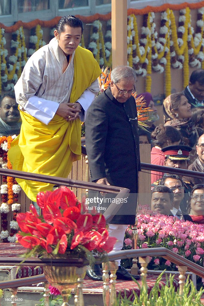 President Pranab Mukherjee and chief guest King of Bhutan, Jigme Khesar Namgyel Wangchuck during 64th Republic Day celebrations in New Delhi on Saturday.