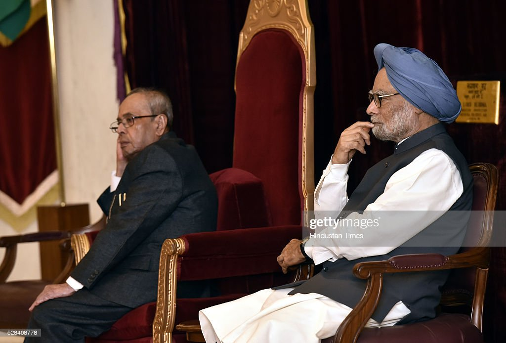 President Pranab Mukherjee and former Prime Minister Manmohan Singh during the centenary birth anniversary celebrations of former President late Gyani Zail Singh at Rashtrapati Bhavan on May 5, 2016 in New Delhi, India. Gyani Zail Singh was the seventh President of India, serving from 1982 to 1987. Prior to his presidency, he was a politician with the Indian National Congress party, and had held several ministerial posts in the Union Cabinet, including that of Home Minister.