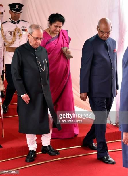 President Pranab Mukherjee and Presidentelect Ram Nath Kovind in a ceremonial procession at Parliament House for the swearingin ceremony of the 14th...