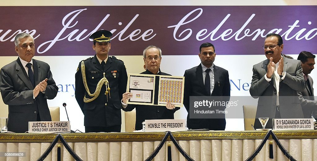 President Pranab Mukherjee D V Sadananda Gowda Minister of Law and Justice along with Chief Justice Of India T S Thakur during the inauguration of...