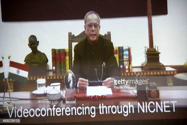 President Pranab Mukherjee interacts with Allahabad University Students and faculty members by live video conference for the Democracy Governance In...