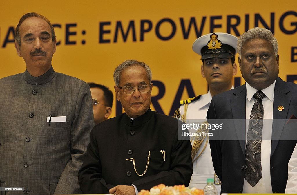 President Pranab Mukherjee (2L), Minister for Health and Family Welfare, Gulam Nabi Azad (L), Central Bureau Investigation (CBI) Director Ranjit Sinha (2R) a attend the Unveiling of CBI Golden Jubilee Logo on April 6, 2013 in New Delhi, India. Pranab Mukherjee inaugurated the Golden Jubilee celebrations of Central Bureau Investigation (CBI) and delivered a lecture on 'Good Governance.