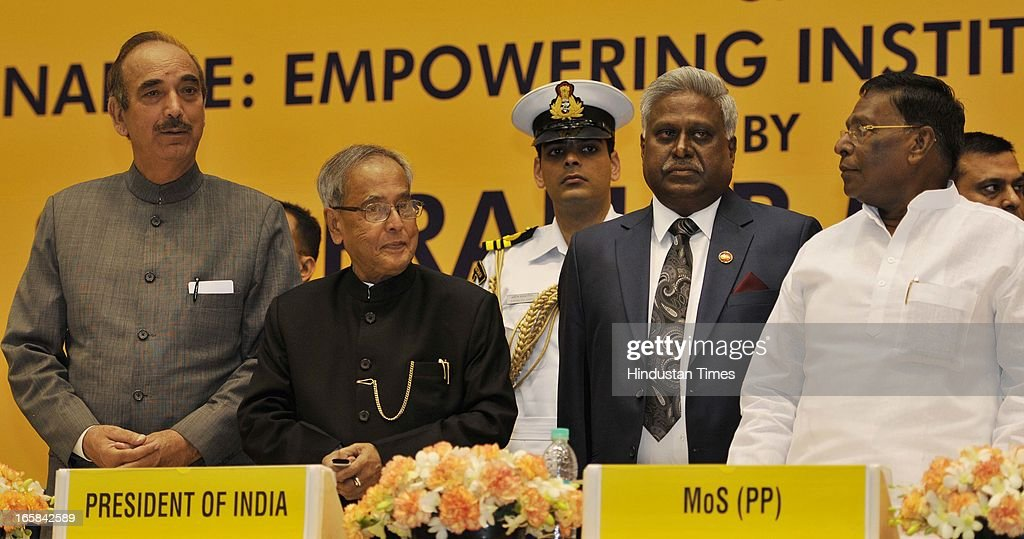 President Pranab Mukherjee (2L), Minister for Health and Family Welfare, Gulam Nabi Azad (L), Central Bureau Investigation (CBI) Director Ranjit Sinha (2R) and Minister of State in Prime Minister's Office, V. Narayanasamy attend the Unveiling of CBI Golden Jubilee Logo on April 6, 2013 in New Delhi, India. Pranab Mukherjee inaugurated the Golden Jubilee celebrations of Central Bureau Investigation (CBI) and delivered a lecture on 'Good Governance Empowering Institutions, Society and Public'.