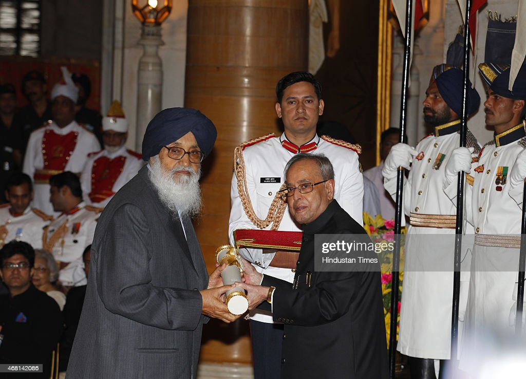 President <a gi-track='captionPersonalityLinkClicked' href=/galleries/search?phrase=Pranab+Mukherjee&family=editorial&specificpeople=565924 ng-click='$event.stopPropagation()'>Pranab Mukherjee</a> presents Padma Vibhushan award to Chief Minister of Punjab Sardar <a gi-track='captionPersonalityLinkClicked' href=/galleries/search?phrase=Parkash+Singh+Badal&family=editorial&specificpeople=3634862 ng-click='$event.stopPropagation()'>Parkash Singh Badal</a> during a Civil Investiture Ceremony at Rashtrapati Bhavan on March 30, 2015 in New Delhi, India. <a gi-track='captionPersonalityLinkClicked' href=/galleries/search?phrase=Parkash+Singh+Badal&family=editorial&specificpeople=3634862 ng-click='$event.stopPropagation()'>Parkash Singh Badal</a> is serving as Chief Minister of Punjab since 2007. He previously served as Chief Minister from 1970 to 1971, from 1977 to 1980, and from 1997 to 2002. He is also the patron of Shiromani Akali Dal (SAD), a Sikh-centered regional political party based in Punjab. He was the president of the party from 1995 to 2008, when he was replaced by his son Sukhbir Singh Badal.