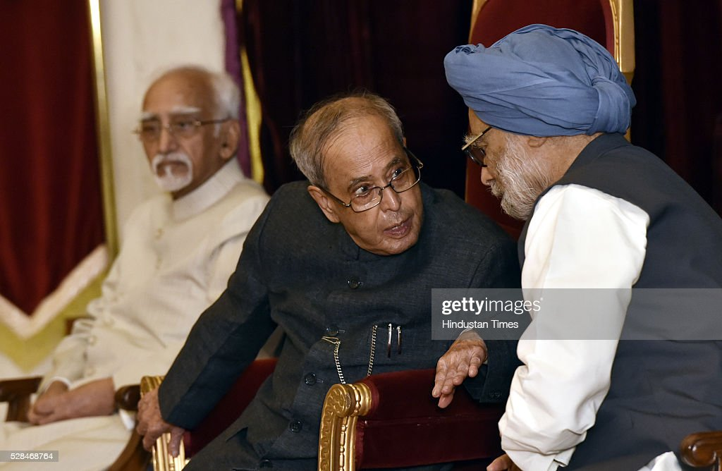 President Pranab Mukherjee, Vice President Hamid Ansari and former Prime Minister Manmohan Singh during the centenary birth anniversary celebrations of former President late Gyani Zail Singh at Rashtrapati Bhavan on May 5, 2016 in New Delhi, India. Gyani Zail Singh was the seventh President of India, serving from 1982 to 1987. Prior to his presidency, he was a politician with the Indian National Congress party, and had held several ministerial posts in the Union Cabinet, including that of Home Minister.