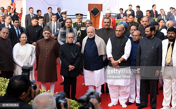 President Pranab Mukherjee Vice President Hamid Ansari Prime Minister Narendra Modi and other paying homage to Dr B R Ambedkar on his death...