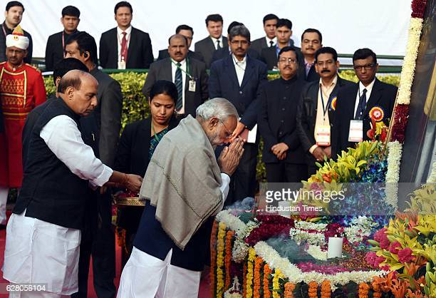 President Pranab Mukherjee Vice President Hamid Ansari Prime Minister Narendra Modi and others paying homage to Dr B R Ambedkar on his death...