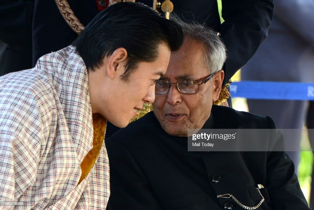 President Pranab Mukherjee with Chief Guest King of Bhutan, Jigme Kheser Namgyel Wangchuck, during At Home reception hosted by him on the occasion of 64th Republic Day at Rashtrapati Bhavan in New Delhi on Saturday.