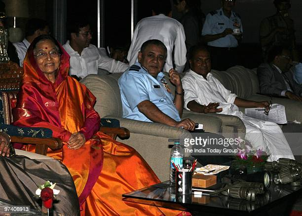 President Pratibha Patil observes press meet by Defence minister A K Antony and Air Chief after fire power demonstration Vayu Shakti 2010 at Air...
