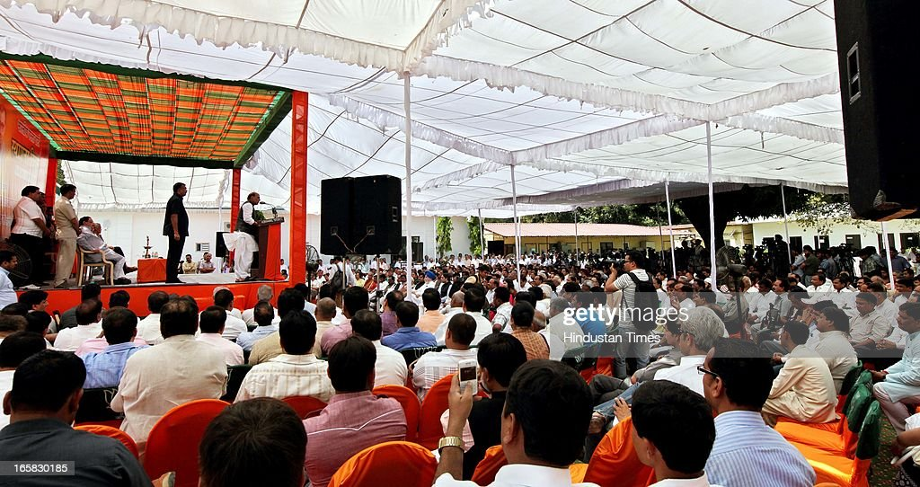 BJP President Rajnath Singh addressing the party members at BJP Headquarter on the occasion of 33rd foundation day of BJP April 6, 2013 in New Delhi, India. In 1980, the leaders and workers of the former Bharatiya Jana Sangh, founded the Bharatiya Janata Party with Vajpayee as its first president.