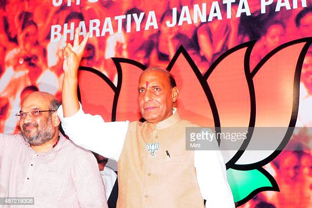 BJP president Rajnath Singh alongwith party leader Amit Shah address press after the victory in General elections 2014 at BJP HQ Ashoka Road on May...