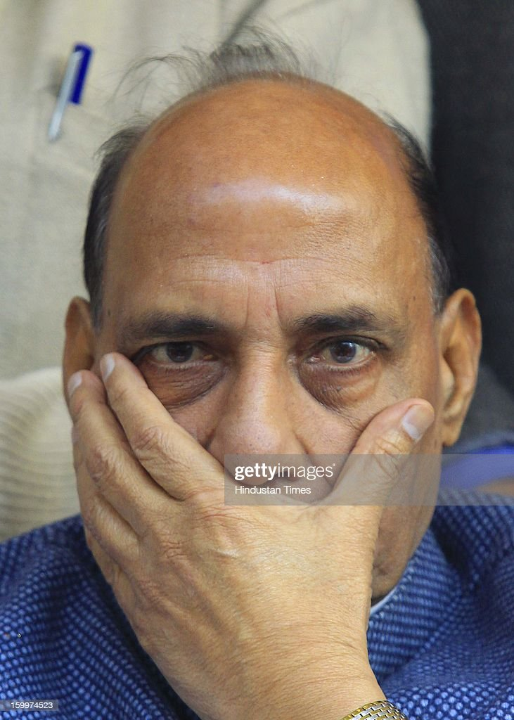 BJP president Rajnath Singh gestures during a Dharna Protest against the Home Minister Sushil Kumar Shinde's Hindu terror remarks.at the Jantar Mantar on January 24, 2012 in New Delhi, India. Home minister Shinde has alleged that BJP and RSS were behind Hindu terror during recently held Congress Conclave at Jaipur.