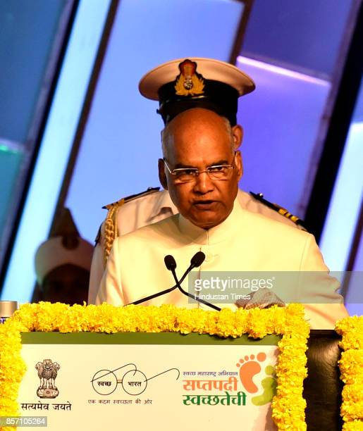 President Ram Nath Kovind declares Urban Maharashtra Open Defecation Free state in the country at NSCI Worli on October 1 2017 in Mumbai India...