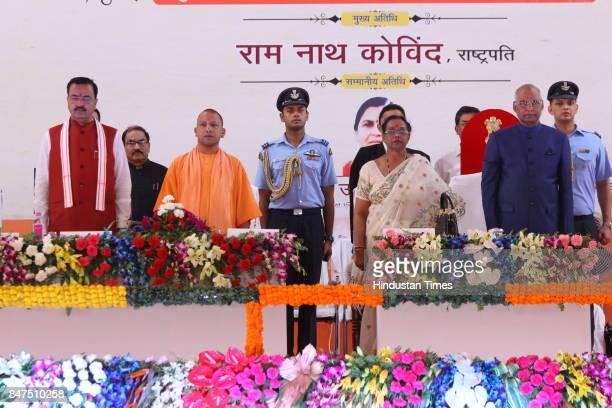 President Ram Nath Kovind first lady Savita Kovind Uttar Pradesh Chief Minister Yogi Adityanath and Deputy Chief Minister Keshav Prasad Maurya during...