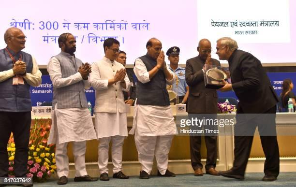President Ram Nath Kovind Union Home Minister Rajnath Singh and Ministers of State for Home Affairs Hansraj Gangaram Ahir and Kiren Rijiju at the...