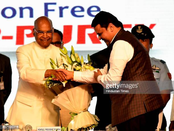 President Ram Nath Kovind with Maharashtra CM Devendra Fadnavis during an announcement of the Urban Maharashtra Open Defecation Free state in the...