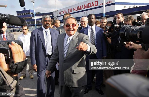 President Raul Castro of Cuba speaks to the media about Fidel Castro's health at the Jose Marti Airport on January 21 2009 in Havana Cuba President...