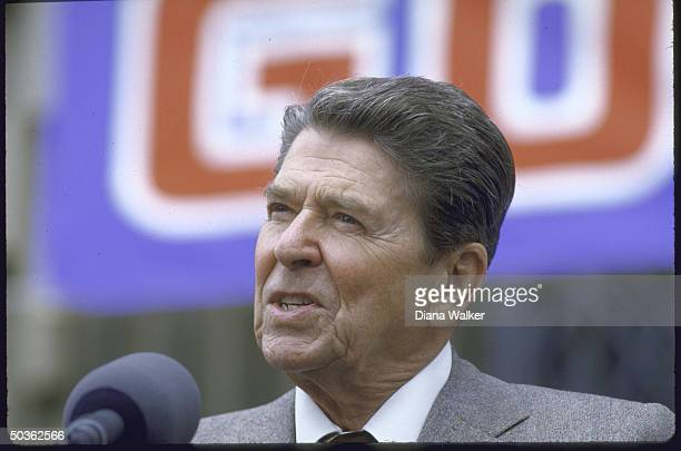 President Reagan campaigning for his tax reform plan at Bloom High School