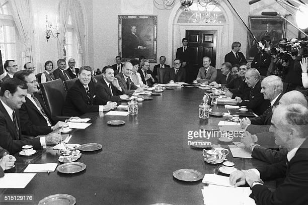 President Reagan meets with his Cabinet 11/13 at the White House Clockwise around the table are Interior Secretary William Clark Vice President...