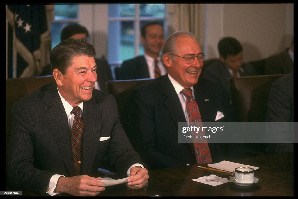 President Reagan (R) sharing laugh with House Min. leader <a gi-track='captionPersonalityLinkClicked' href=/galleries/search?phrase=Bob+Michel&family=editorial&specificpeople=216063 ng-click='$event.stopPropagation()'>Bob Michel</a> during meeting with GOP congressional leadership re Iran & Trade Bill.