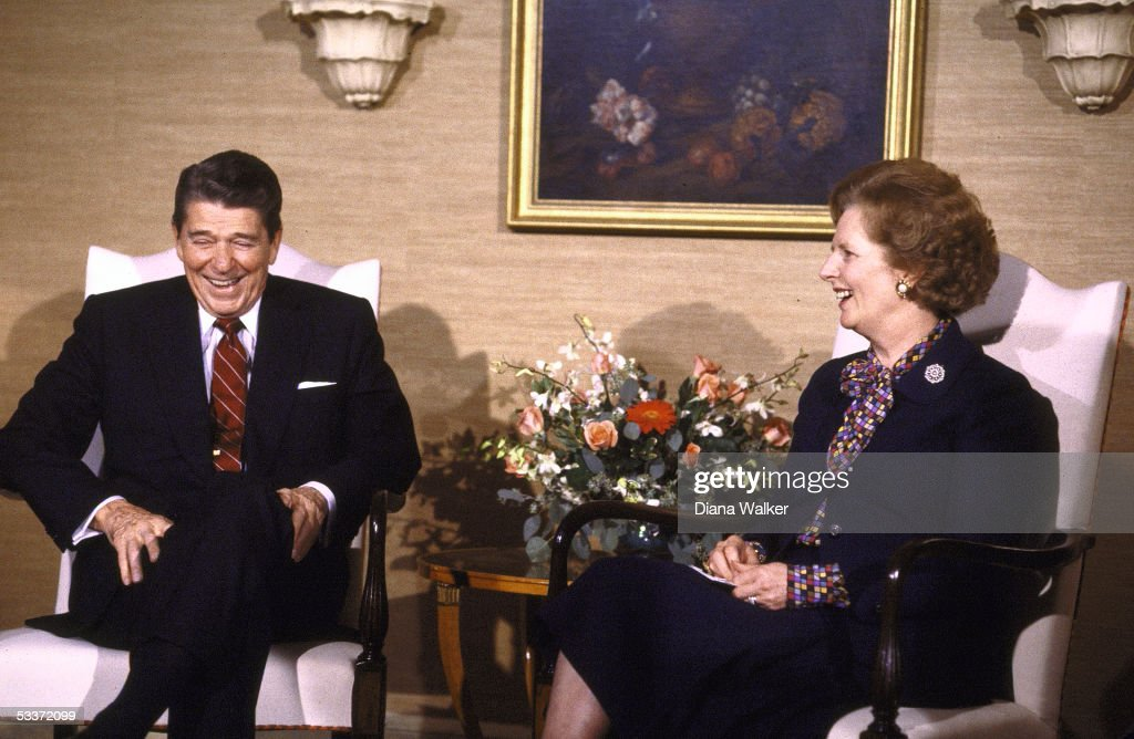 president reagan with british prime minister margaret thatcher during un 40th anniversary