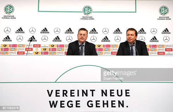 DFB president Reinhard Grindel and Assistant DFB General Secretary and DFB Media Director Ralf Koettker talk to the media during closing press...