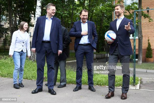 President Reinhard Grindel and DFB Ambassador Thomas Hizlsperger visit The Don Bosco Children's Home on June 16 2017 in Moscow Russia