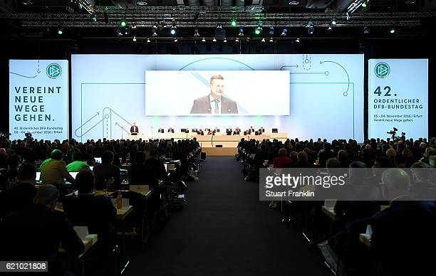 DFB president Reinhard Grindel holds the opening speech on day 2 of the 42nd DFB Bundestag at Messe Erfurt on November 4 2016 in Erfurt Germany