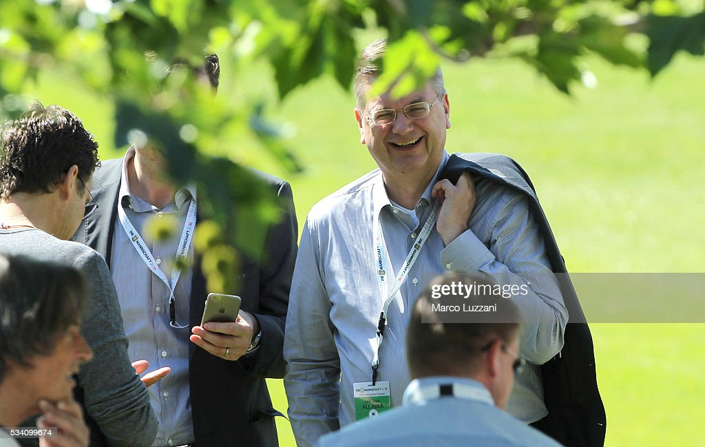 DFB president <a gi-track='captionPersonalityLinkClicked' href=/galleries/search?phrase=Reinhard+Grindel&family=editorial&specificpeople=8750586 ng-click='$event.stopPropagation()'>Reinhard Grindel</a> looks on before the German national team's pre-EURO 2016 training camp on May 25, 2016 in Ascona, Switzerland.