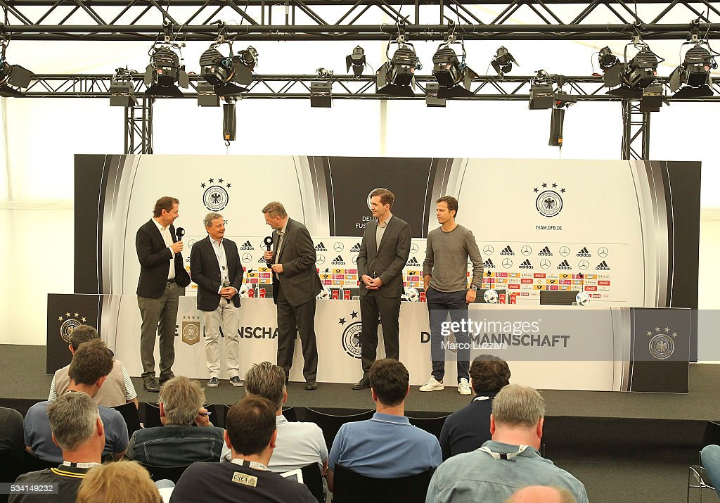 DFB president <a gi-track='captionPersonalityLinkClicked' href=/galleries/search?phrase=Reinhard+Grindel&family=editorial&specificpeople=8750586 ng-click='$event.stopPropagation()'>Reinhard Grindel</a> (C) officially opens the media center of the German national team's pre-EURO 2016 training camp on May 25, 2016 in Ascona, Switzerland.