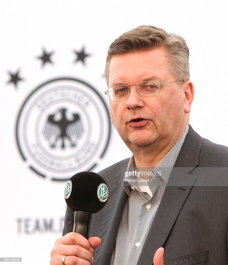 DFB president <a gi-track='captionPersonalityLinkClicked' href=/galleries/search?phrase=Reinhard+Grindel&family=editorial&specificpeople=8750586 ng-click='$event.stopPropagation()'>Reinhard Grindel</a> officially opens the media center of the German national team's pre-EURO 2016 training camp on May 25, 2016 in Ascona, Switzerland.