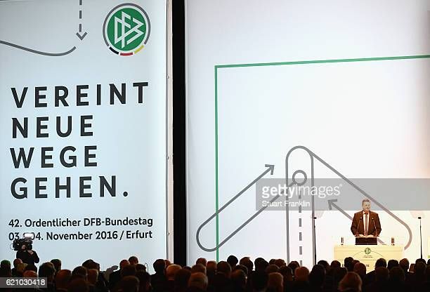 DFB president Reinhard Grindel reports to the delegates and guests during day 2 of the 42nd DFB Bundestag at Messe Erfurt on November 4 2016 in...