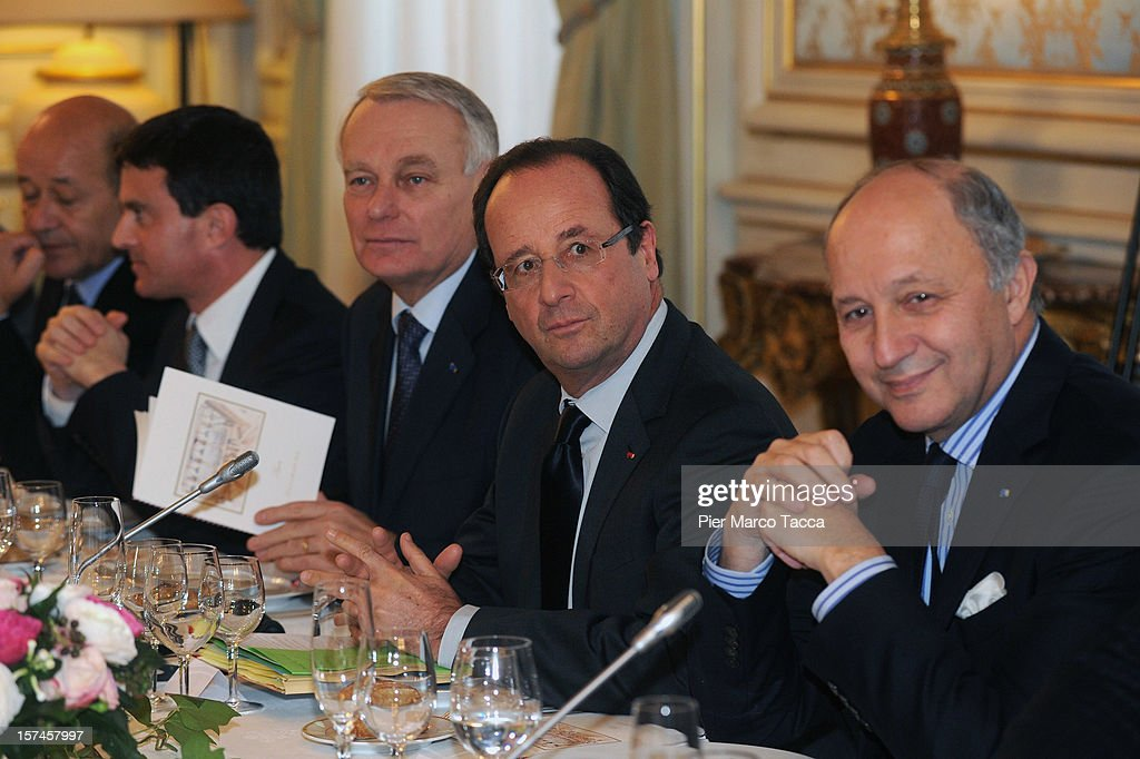 President Republic of France Francois Hollande (2R) attends a meeting for the French Italian Summit attend the French Italian Summit on December 3, 2012 in Lyon, France. The two countries are meeting to sign an official accord for the construction of new high speed (TAV) rail line running from Lyon to Torino.