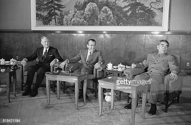 US President Richard Nixon and Chinese Premier Chou Enlai of the People's Republic of China are shown together just prior to their meetings Feb 21 Mr...