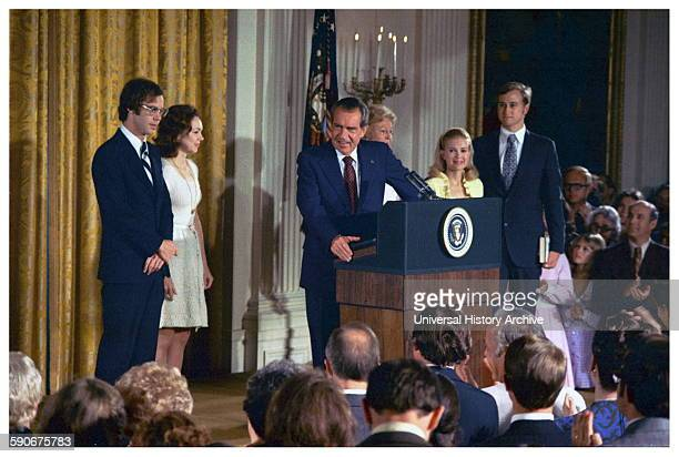 President Richard Nixon announces his resignation as President of the USA in 1974 following the Watergate scandal