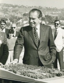 President Richard Nixon attends the press conference for Nixon Presidential Library on March 30 1984 in San Clementre California