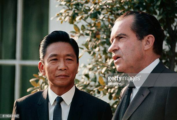 President Richard Nixon bids goodbye to Philippines President Ferdinand Marcos after their White House meeting 4/1 Marcos and other world leaders...