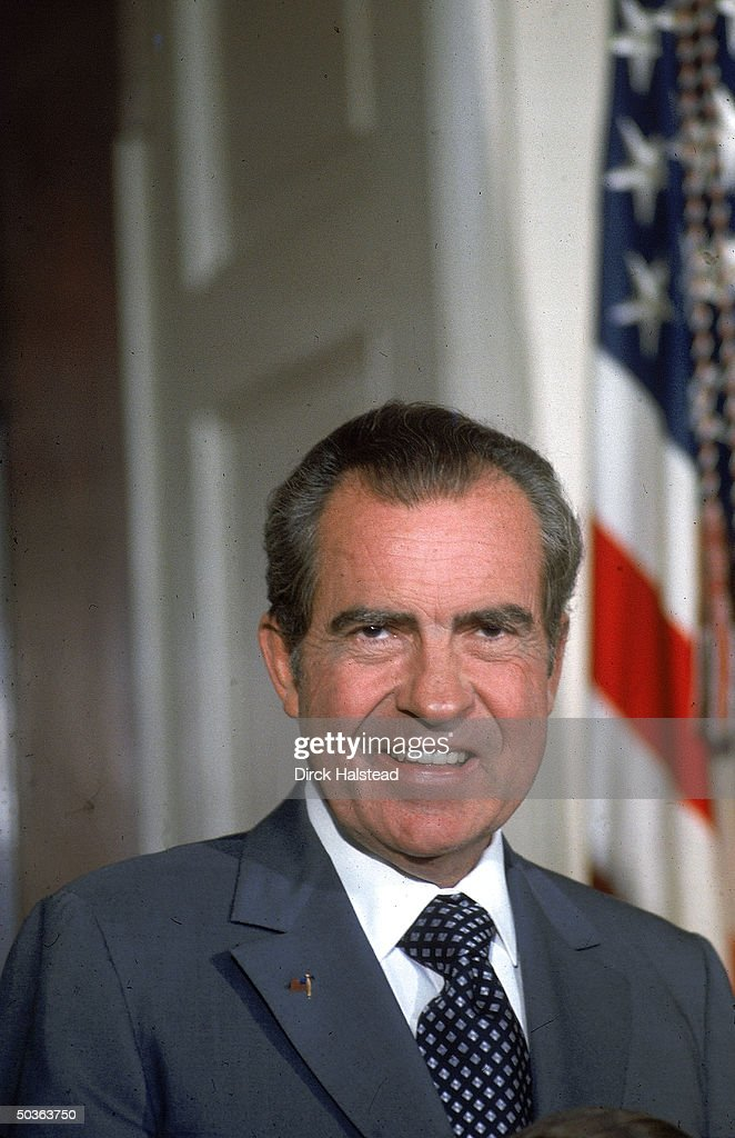 US President Richard Nixon during presentation of diplomatic credentials at White House.