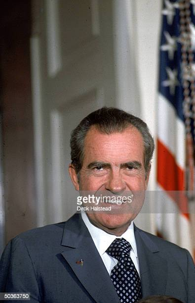 US President Richard Nixon during presentation of diplomatic credentials at White House