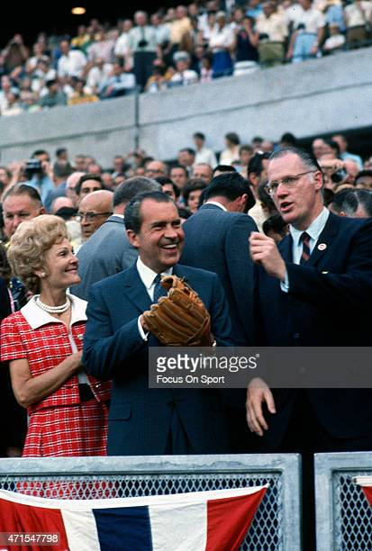 President Richard Nixon First Lady Pat Nixon and commissioner of baseball Bowie Kuhn is seen in the stands prior to the start of Major League...