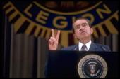 President Richard Nixon flashing the V symbol while speaking at the 1972 American Legion Convention