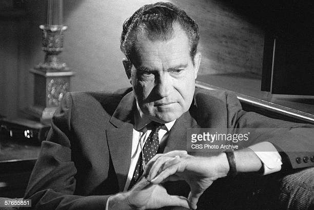 US president Richard Nixon is interviewed by host Mike Wallace for the TV newsmagazine '60 Minutes' September 3 1968