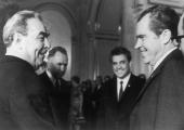 US President Richard Nixon meets Russian President Leonid Brezhnev in Moscow after the Strategic Arms Limitation Talks 31st May 1972