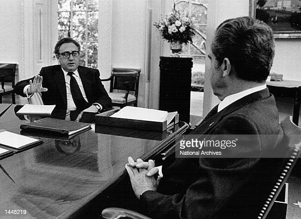 President Richard Nixon meets with Secretary of State Henry Kissinger January 21 1974 in the Oval Office