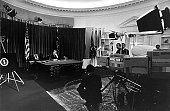 President Richard Nixon prepares to go on television May 23 1970 in the Oval Office