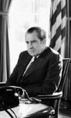 US President Richard Nixon sits in the Oval Office of the White House During Watergate scandal on February 2 1974 in Washington DC
