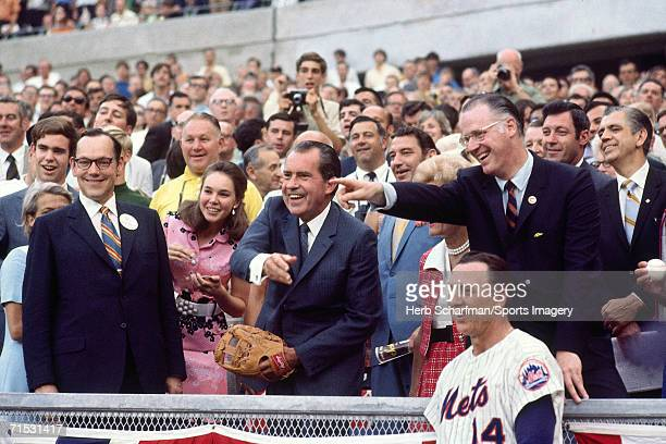 President Richard Nixon throws out first pitch at 1970 AllStar Game Riverfront Stadium on July 14 1970 in Cincinnati Ohio Commissioner Bowie Kuhn and...