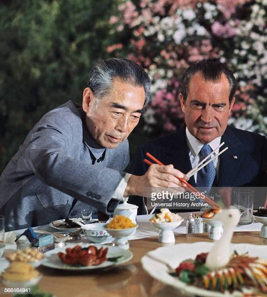 President Richard Nixon with Chinese Premier Zhou En Lai during the US Presidents 1972 visit to China