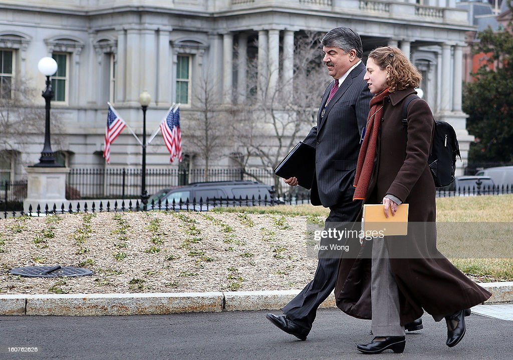 President <a gi-track='captionPersonalityLinkClicked' href=/galleries/search?phrase=Richard+Trumka&family=editorial&specificpeople=2701507 ng-click='$event.stopPropagation()'>Richard Trumka</a> (L) arrives at the White House for a meeting with U.S. President Barack Obama February 5, 2013 in Washington, DC. Obama was meeting with labor leaders to discuss issues including immigration reform, economy, and deficit reduction.